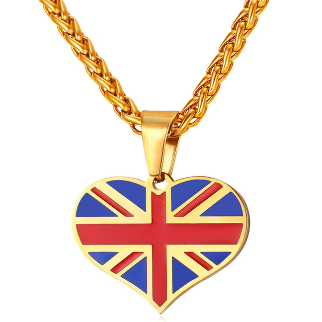 Flag of uk necklaces pendants yellow gold color stainless steel flag of uk necklaces pendants yellow gold color stainless steel england symbol with heart necklace aloadofball Gallery
