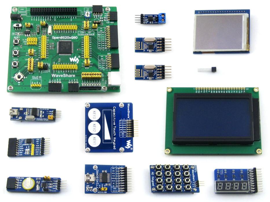 Open8S208Q80 Package B # STM8S208MB STM8S208 STM8S Evaluation Development Board + Touch LCD+Capacitive Touch Keypad+12 Modules capacitive touch keypad module blue