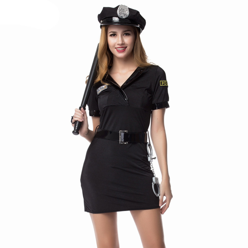 Hot Sale Sexy Women Police Costume Short Sleeve Black Female Officer Cop Costume Cosplay Halloween Party Uniform
