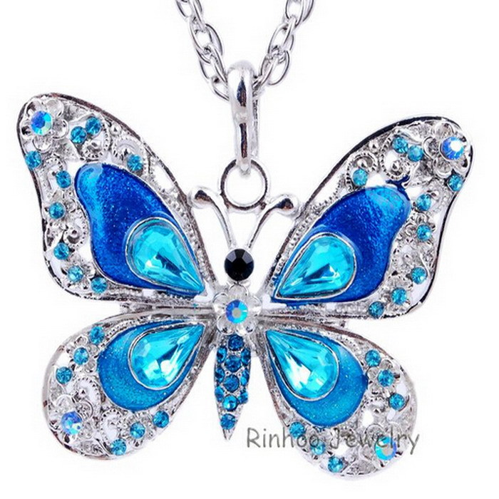 Free shipping new fashion jewelry Autumn accessories popular hip enamel crystal butterfly pendant long necklace chain