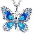 Frete grátis populares acessórios da jóia nova moda Outono hip esmalte borboleta pingente de cristal colar de cadeia longa mulheres