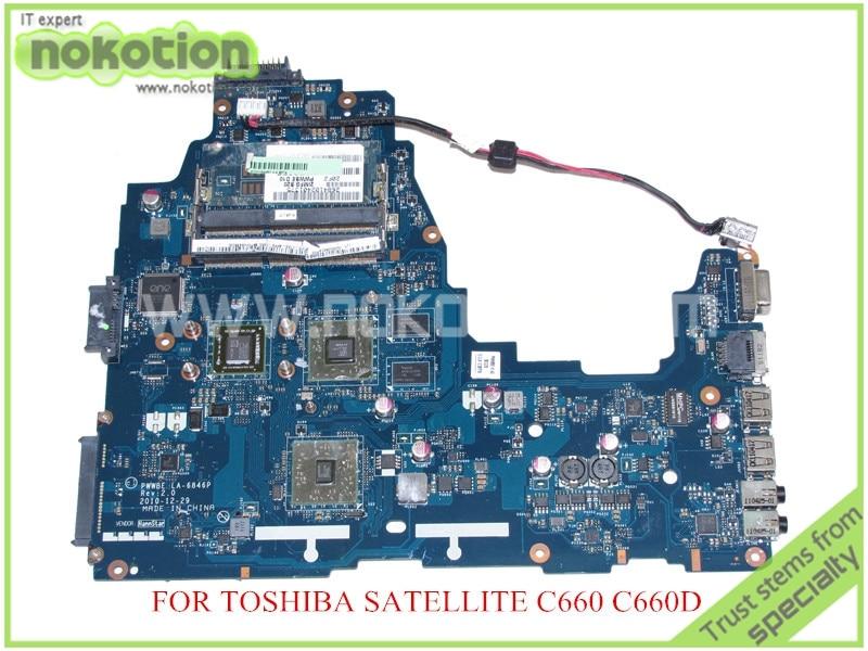 NOKOTION PWWBE LA-6846P Rev 2.0 MB K000124450 for toshiba satellite C660 C660D EME250 CPU onboard DDR3