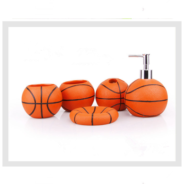 Incroyable Cute Basketball Resin Bathroom Accessories 5 Pieces Conjunto Para Banheiro  Wedding Gift Bathroom Set Resin Bathroom Accessories In Bathroom Accessories  Sets ...