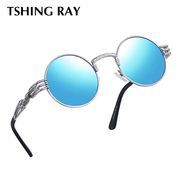 c0520f7ad168 TSHING RAY Gothic Steampunk Round Sunglasses Men Metal Round Shades Male  Clear Sun Glasses For Women Hip Hop Steam Punk