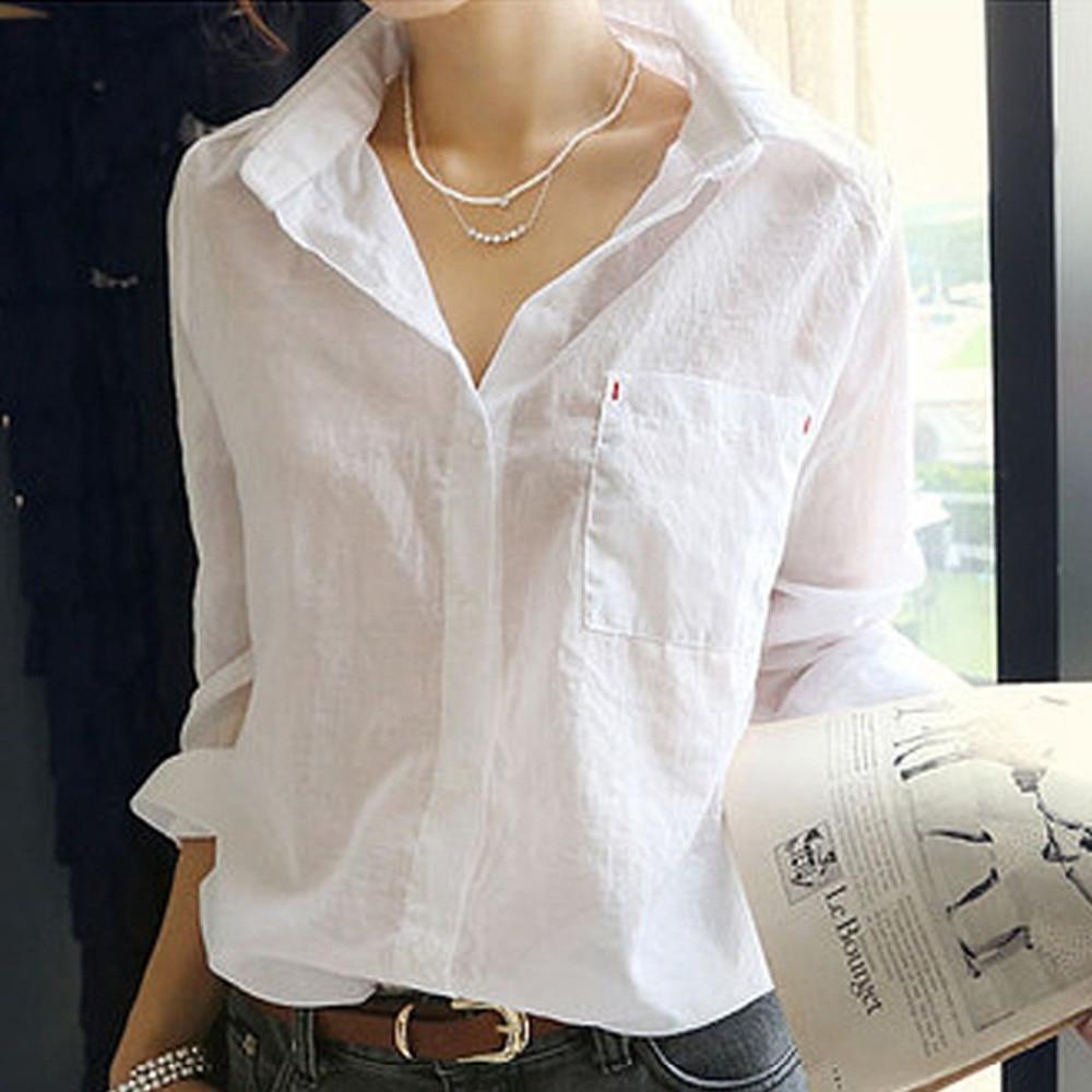 FANALA White Blouse Shirt Autumn Tops Women's Long sleeve Sexy Turn Down Collar White Shirt Cotton Basic Shirt Ladies Top Blusas