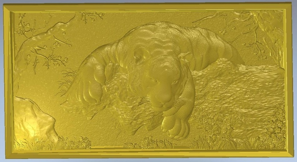 3d model relief  for cnc in STL file format Animals and Birds - 2 panno hunting 2 for cnc in stl file format 3d model relief