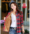 2016 Moda Inverno Mulheres Casual Camisa Xadrez Camisa de Flanela de Manga Comprida de Lã Quente Mulheres Blusas Camisa Blusas de Algodão Tops Blusa