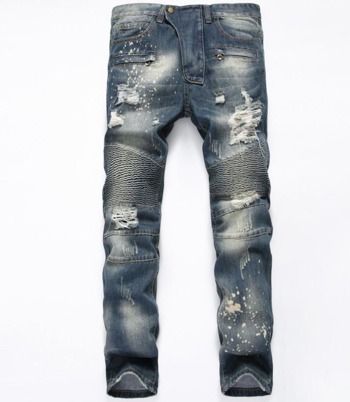 NEW men Biker jeans ripped denim slim motorcycle pant men classic rap hip hop skinny casual winter stretch jeans men blue B84 3