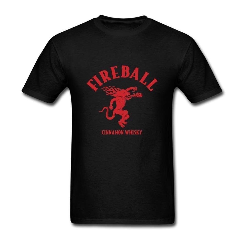 Mens Fireball Cinnamon Whisky Logo Personality T Shirts New Graphic Tees Normal Short Sleeve Cotton T Shirts Interesting