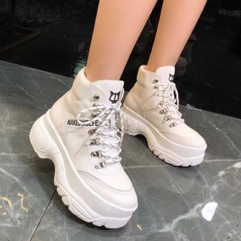 Ayakk.'ten Kadın Pompaları'de Kadın beyaz ayakkabı, Hakiki Deri Yüksek yardım Platformu rahat ayakkabılar, Bayan çapraz bağlı Vulkanize ayakkabı, Moda kadın ayakkabısı'da  Grup 1