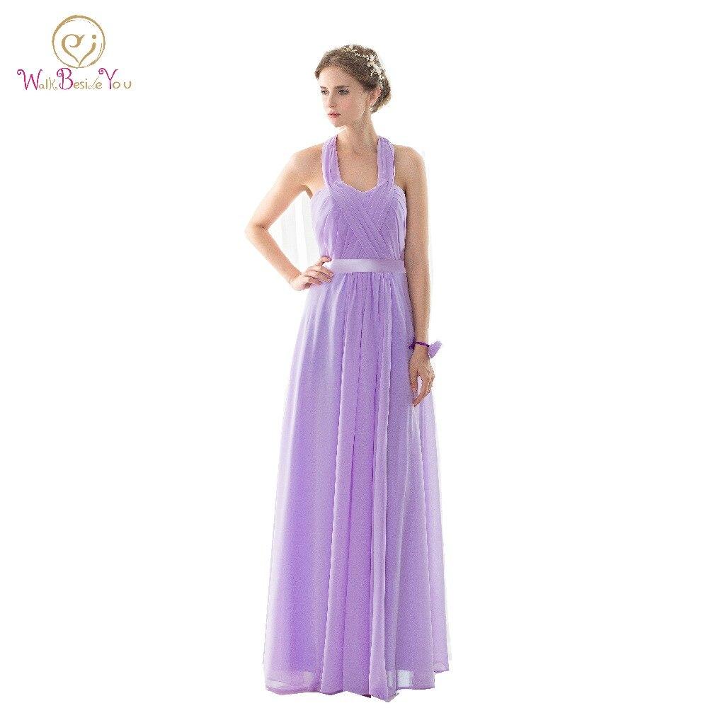 ᐅ100% Real Image Cheap robe femme Long Halter Lilac Bridesmaid ...