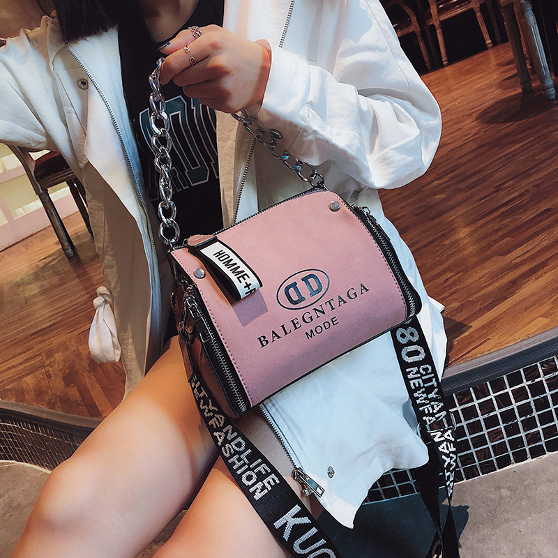 Women Handbags Bucket Messenger-Bag Letter Scrub Leather Chains-Design Wide-Strap Bolsa-Feminina