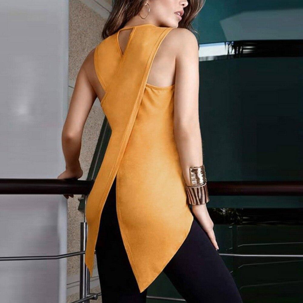 Moda de Las Señoras Blusas de Verano Sin Mangas Delgado Blusa de la gasa Ocasion