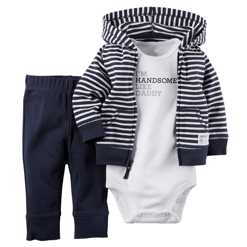 0-18M Newborn Baby Boys Girls Clothes Infant Bebes Long Sleeve Bodysuit Romper + Striped Hooded Coat + Pant 3pcs Outfit Clothing