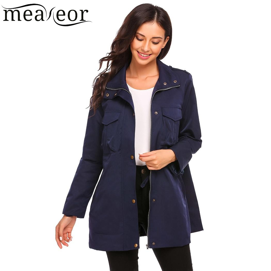 Meaneor Women Basic Lightweight Jacket Autumn Winet Fashion Stand Collar Long Sleeve Zip up Jackets Coats Ladies Outwears 2017