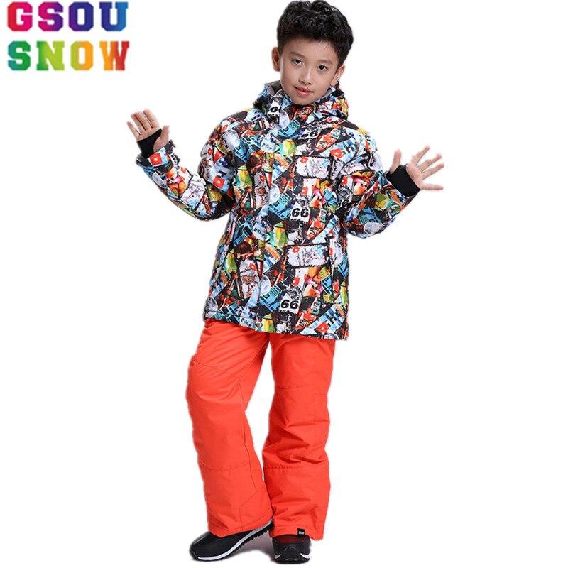Детский лыжный костюм GSOU, лыжный костюм для мальчиков, куртка + штаны, детский лыжный костюм, водонепроницаемый комплект для сноуборда, зимн