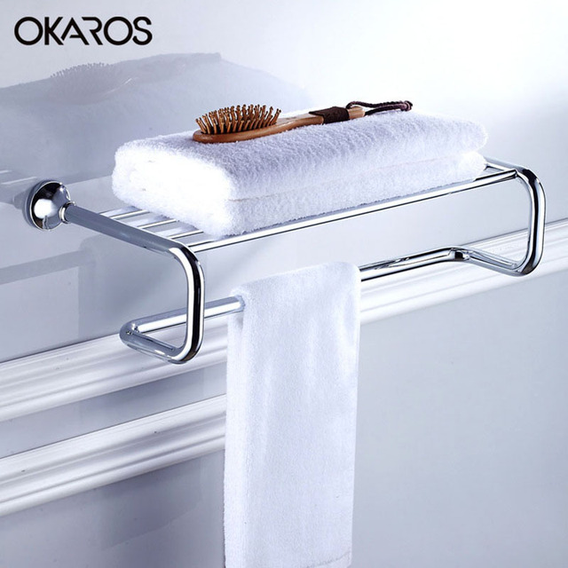 Inspirational Glass Shelf with towel Bar Chrome