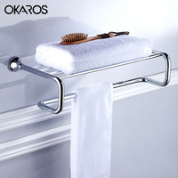 OKAROS European Towel Rack Holder Towel Shelf Tower Rail Towel Hanger Solid Brass Golden/Chrome Finished Bathroom Accessories