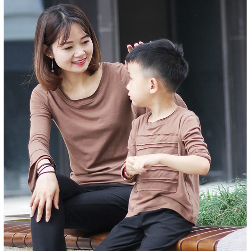 Mother daughter coffee color trumpet sleeve long T-shirt family clothes toddler girls autumn o-neck tops mom son fashion t-shirt