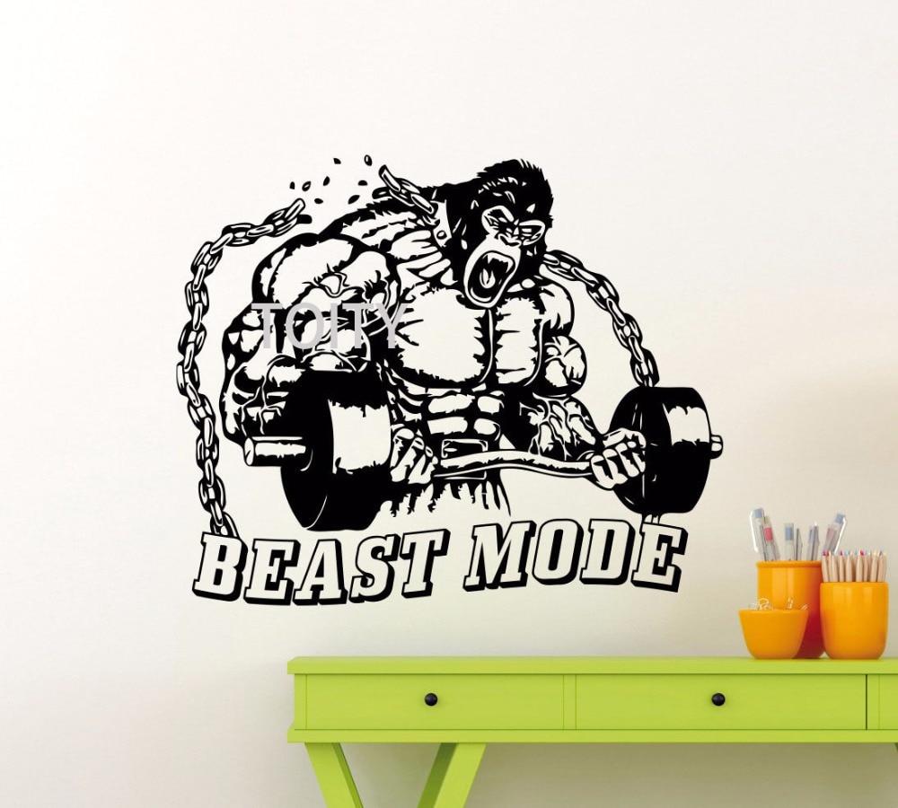 Gym Wall Decal Beast Mode Fitness Sport Vinyl Sticker Art