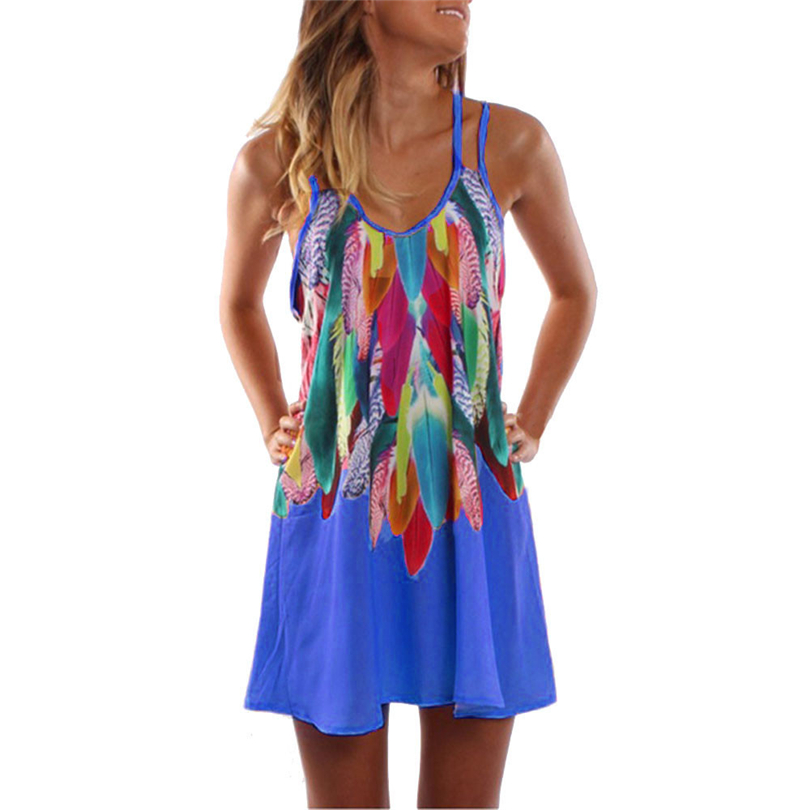 2018 Fashion Womens Dresses party beach short Mini Slip Dress Sundress Sleeveless Dress floral summer Print Boho Sexy vestidoF80