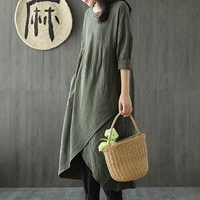 NEW 2018 CELMIA Autumn Women Casual Solid Round Neck Long Sleeve Splits Loose Asymmetric Dress Retro