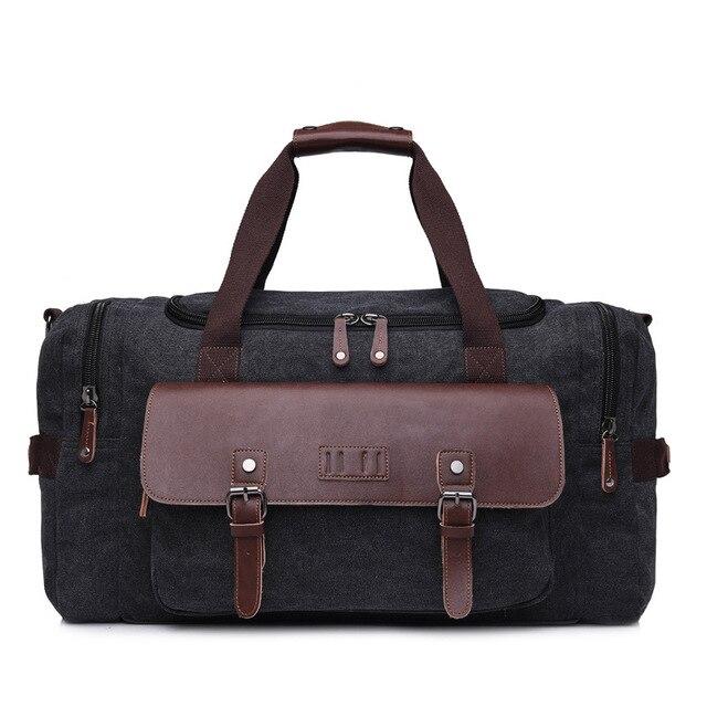 eaf86474aa5e Large Canvas Leather Travel Bag Luggage Bag Overnight Bag Weekend ...