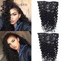 7A brasileiro grampo em extensões do cabelo humano onda profunda virgem americano africano encaracolado grampo em extensões do cabelo humano 100g 7 peças/set
