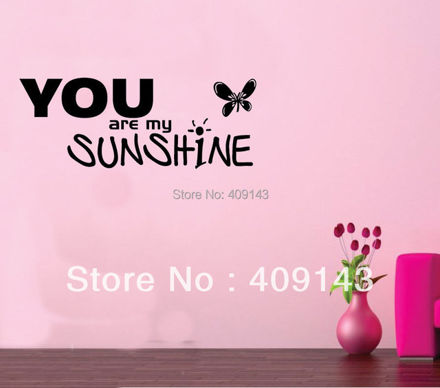 You Are My Sunshine Butterfly Wall Art Stickers Quotes Home