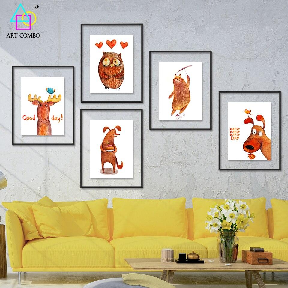 Moderne Tier, Kunst, Malerei Auf Leinwand Hund Katze Eule ...