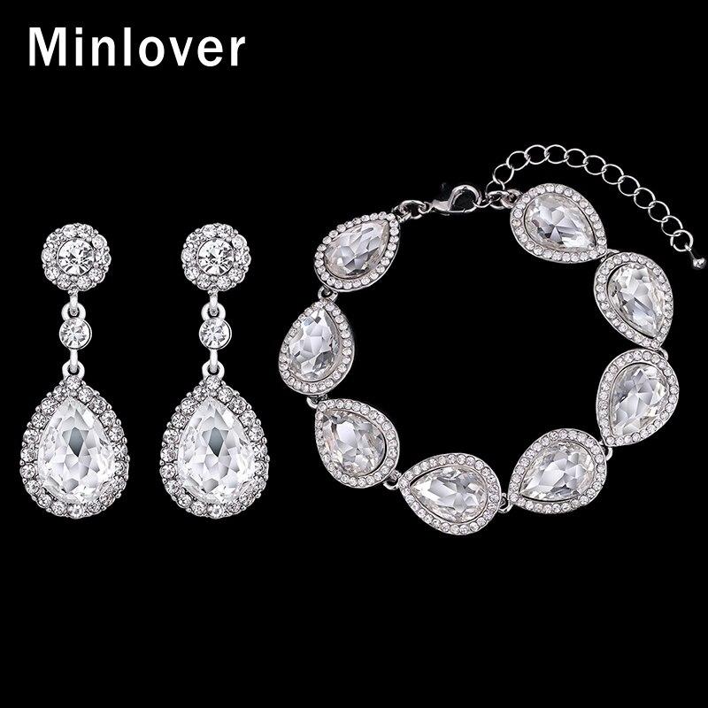 Minlover Crystal Bridal Bracelet Teardrop Earrings sets for s
