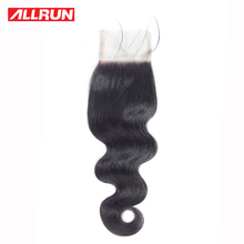 ALLRUN 4*4 Lace Closure With Baby Hair Malaysian Body Wave Human Hair Weaving 100% 10″-20″ Remy Hair Natural Color