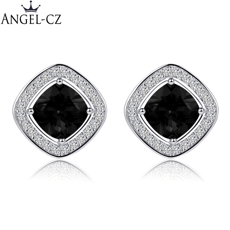 ANGELCZ 2018 New Arrival Fashion Jewelry Micro Cubic Zircon Setting Big Black Stone Trendy Square Stud Earrings For Women AE091