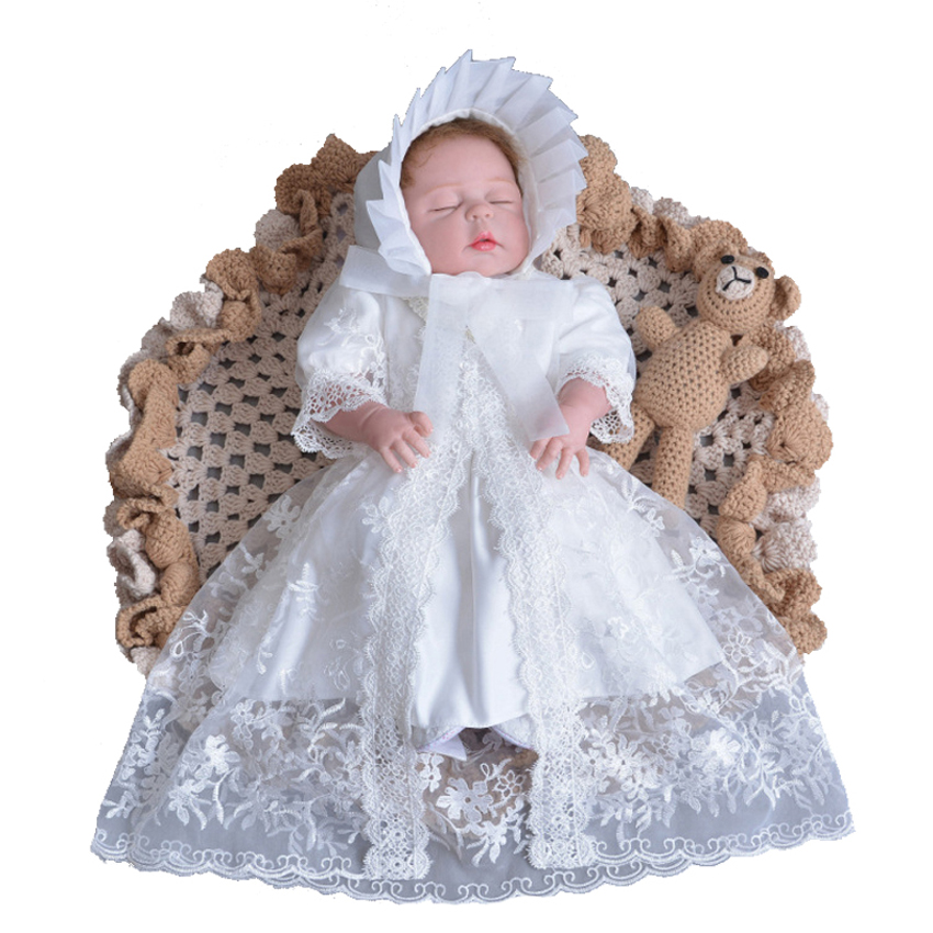 83a3a5407ea Detail Feedback Questions about 3pcs Newborn Baby Girl Set Dress Hat and  Shawl White Christening Gown Lace Embroidered First 1st 2nd 3rd Birthday  Baptism ...