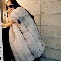 genuine fox fur coat winter long full leather fox fur vest women's luxury fox fur jacket big size free shipping TF0197
