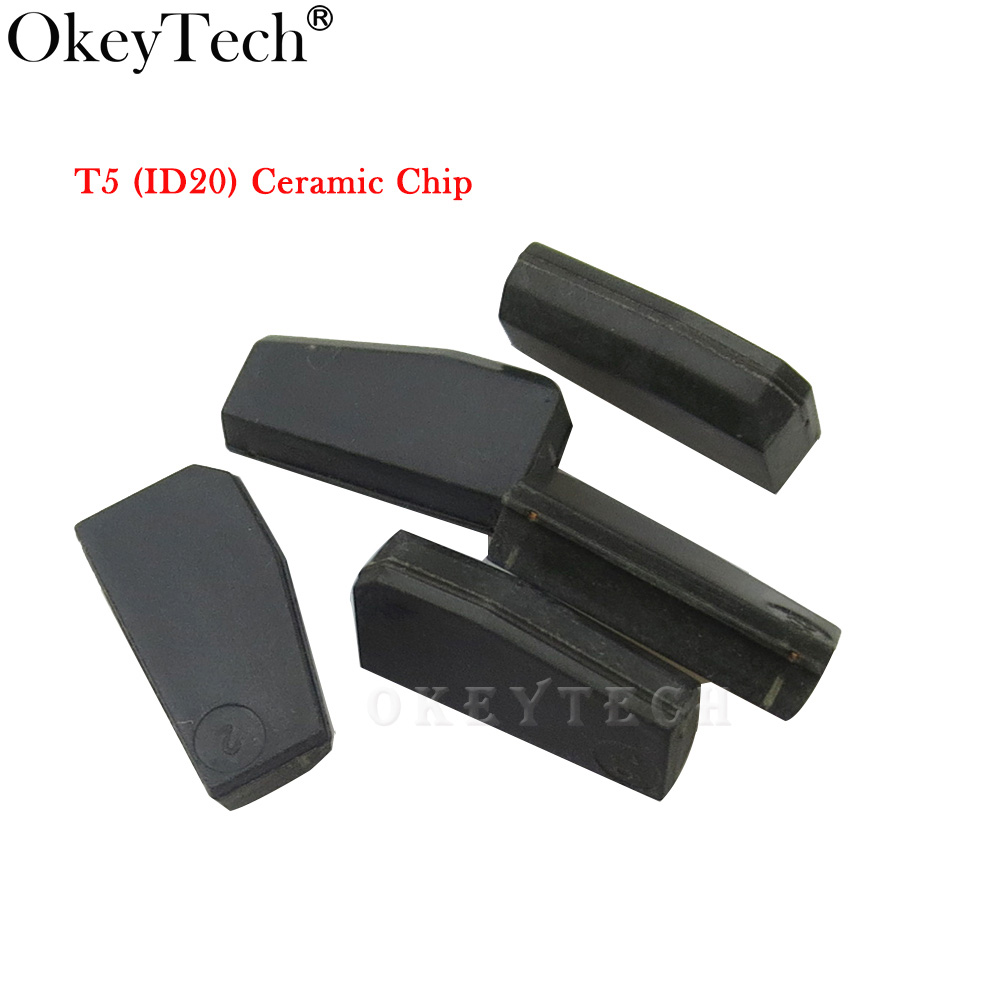Okeytech 5pcs/lot Key Chip T5-20 Transponder Chip Blank Carbon T5 Cloneable Chip For Car Key Cemamic T5 Chip Copy to ID 11 12 13 free shipping transponder key blank hu43 blade for tpx chip for opel 10piece lot