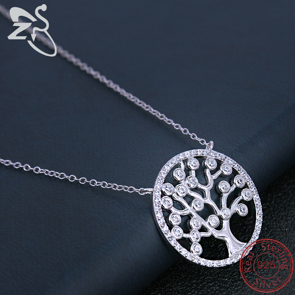 15b6db5ae038 ZS Tree of Life Pendant Necklace Women 925 Sterling Silver Circle Pendant  Necklace Inlay CZ Crystal Necklace Girls Birthday Gift-in Pendant Necklaces  from ...