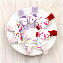 1 PCS Cute Unicorn Baby Hair Clips Lovely Little Girls Safety Hairpins Decoration Tool Children Hairdressing New