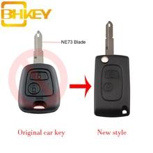 цена на BHKEY New Smart Peugeot Key for Car 2 Buttons NE73 Blade Flip Car Key Shell For Peugeot 106 206 306 406