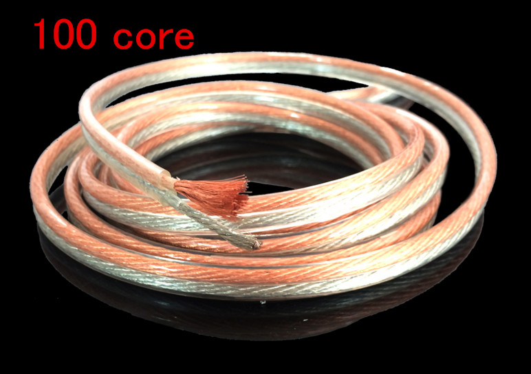 Free Ship 5m/lot 100 Core Professional RCA Cable Oxygen-free Copper Acoustics Wire Gold And Silver Wire Horn Cable Audio Cable