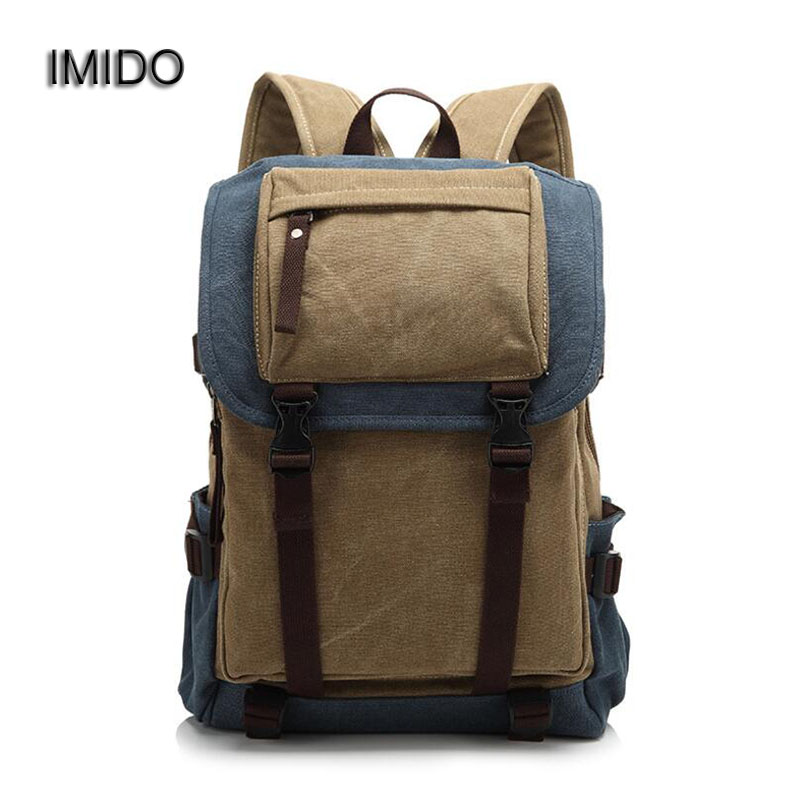IMIDO Man's Canvas Backpack Travel Schoolbag Male Backbag Men Large Capacity Rucksack Shoulder Laptop Bag Mochila Escolar SLD025 hot casual travel men s backpacks cute pet dog printing backpack for men large capacity laptop canvas rucksack mochila escolar