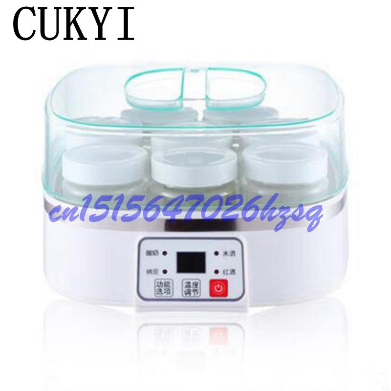 CUKYI Fully automatic Household 1.5L Multifunctional yogurt machine Making natto/rice wine/red wine with 8 cups microcomputer cukyi household electric multi function cooker 220v stainless steel colorful stew cook steam machine 5 in 1