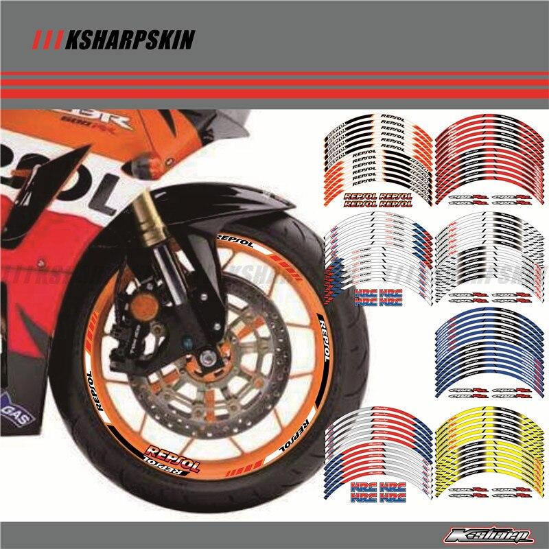 12 X Bord Épais Bordure Extérieure Autocollant Bande Roue Stickers COUPE toutes les HONDA REPSOL HRC CBR250RR CBR400RR CBR600RR CBR1000RR