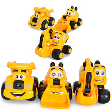 Mini Cute Cartoon Dog Car Baby Utbildnings Toy Kawaii Puppy Engineering Vehicles Action Car Modell för Kids Birthday Gift