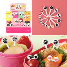10Pcs/ Lot Cute Eye Fruit Toothpick Cartoon Forks Bento Accessories Decorative Facas Food Picks Fish Fork Dessert Prikkers(China)