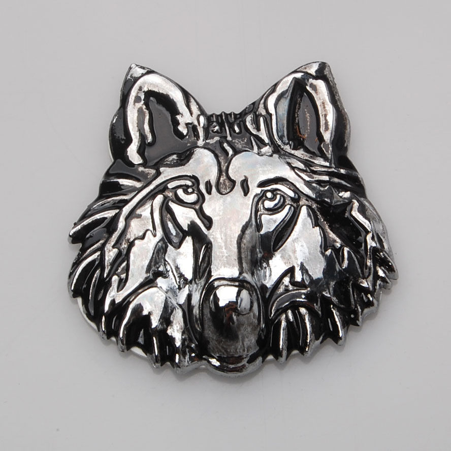 BBQ@FUKA 3D Metal Wolf Head car sticker logo Auto Emblem Motorcycle Stickers Car styling Fit for Fiat Bmw Benz Ford Lada Audi