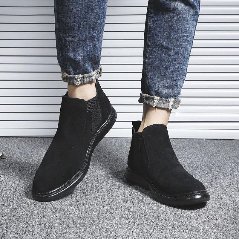2019 Chelsea Boot Männer Wildleder Hombre Stiefel Flache Nubuk Leder Casual Schuhe Stiefeletten Vintage Nähen Männer Stiefeletten