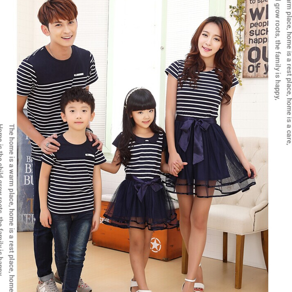 e7e636aafede Family Matching Clothing Fashion Look Striped Summer T shirt Outfits ...