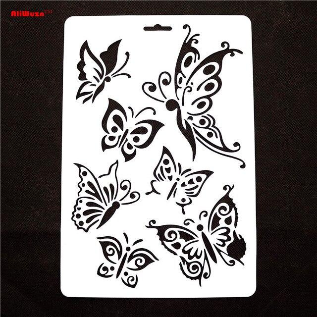1 unids/lote 30.5*21 cm mariposa plantillas en forma de mariposa ...
