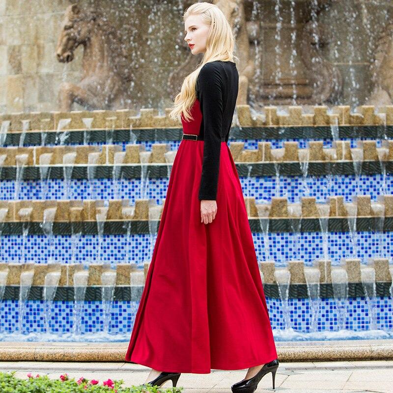Elgant Noir Ol Coton Manches Patchwork Vintage Dames Grande Taille Robe Et Mince Conception Ss6559 Longue Style Rouge Longues RUSd0nx